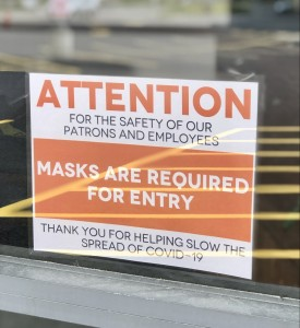 Masks Are Required For Entry Sign