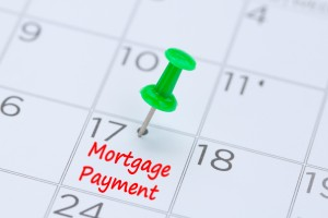 Mortgage Payment Written On A Calendar With A Green Push Pin To Remind You And Important Appointment.
