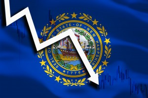 Us State Background With Waving Flag White Arrow And Stocks Chart Fall Down.